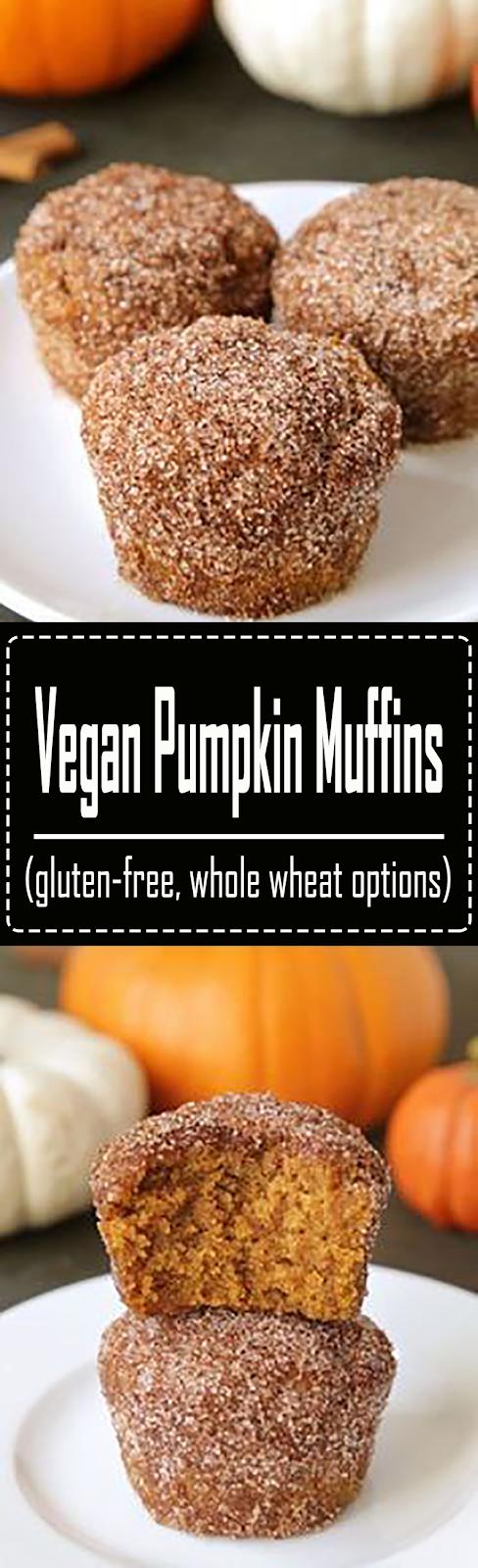 Vegan Pumpkin Muffins (gluten-free, whole wheat options) #HealthyDinnerRecipesEasy