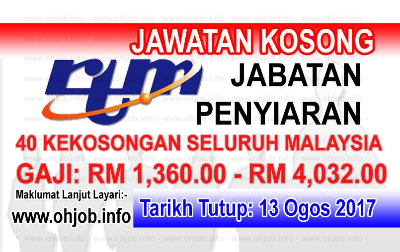 Jawatan Kerja Kosong Jabatan Penyiaran Malaysia - RTM logo www.ohjob.info ogos 2017