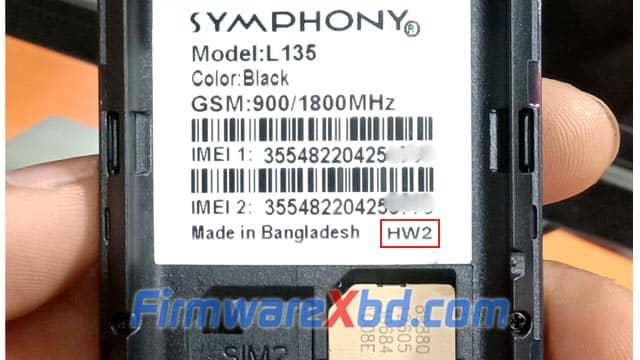 Symphony L135 HW2 Flash File 6531E Download 100% Tested