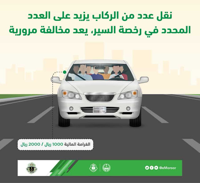Muroor in Saudi Arabia specifies a Fine on Exceeding number of Passengers in a Vehicle - Saudi-Expatriates.com