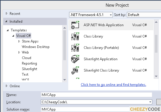 New project window for asp .net mvc5 application