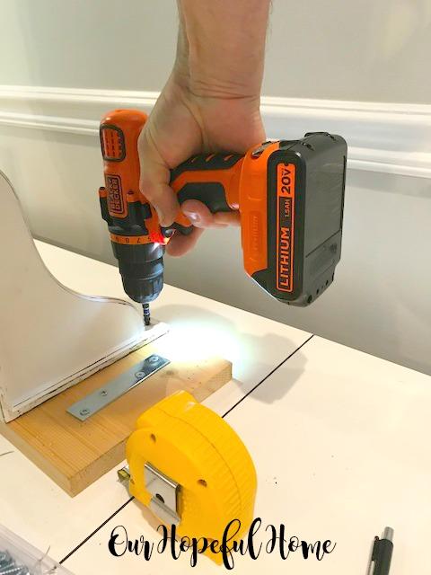 distressed corbel DIY shelf mending plate measuring tape Lithium electric screwdriver