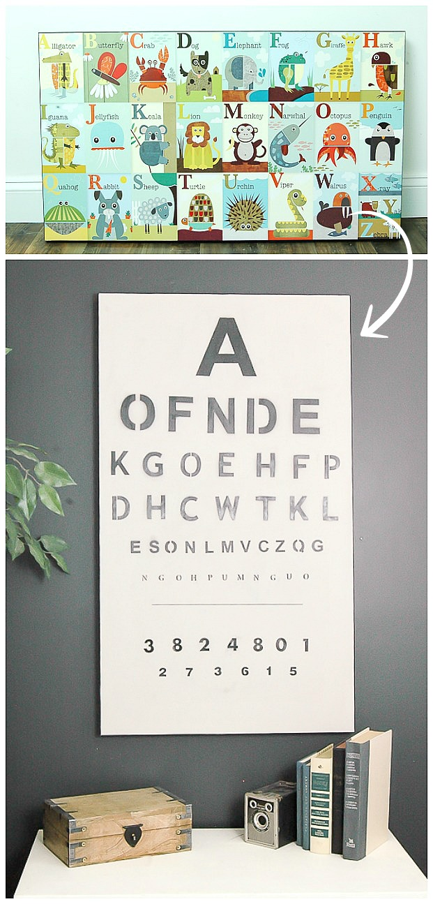 Trash to treasure old artwork turned eye chart little house of old artwork turned vintage eye chart nvjuhfo Image collections