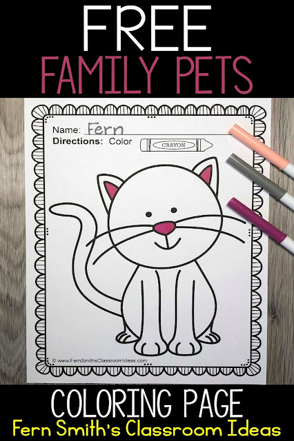This free cat printable would make a wonderful display for Friday the 13th. The students could color or paint the cat black, then they could cut it out and glue to a yellow or white circle to be a black cat in front of a beautiful full moon.  #FernSmithsClassroomIdeas