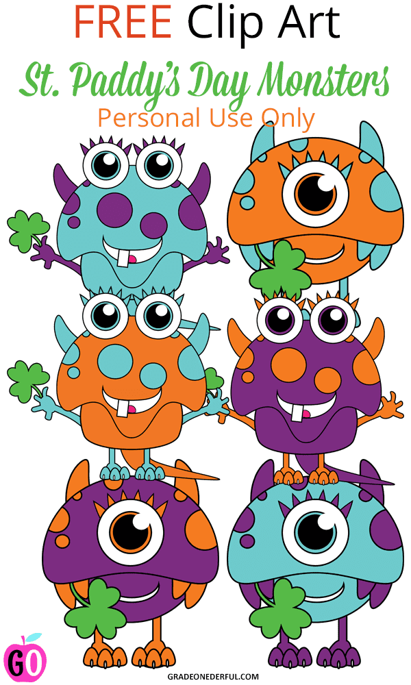 St. Patrick's Day Monster Clip Art. FREE. Perfect for teachers.