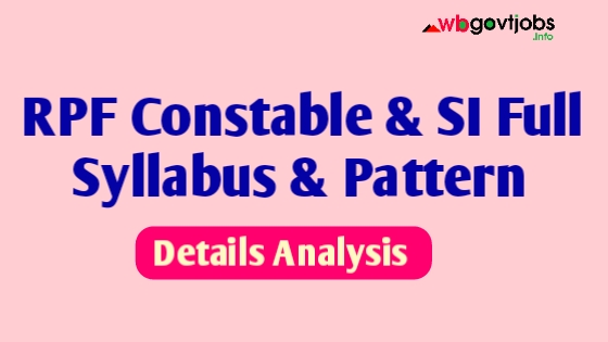 RPF Syllabus 2020 ( Constable And SI )  Full Details Explained