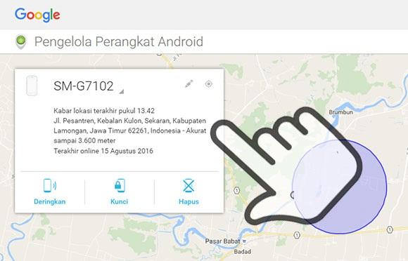 Menggunakan Android Device Manager - menemukan lokasi HP