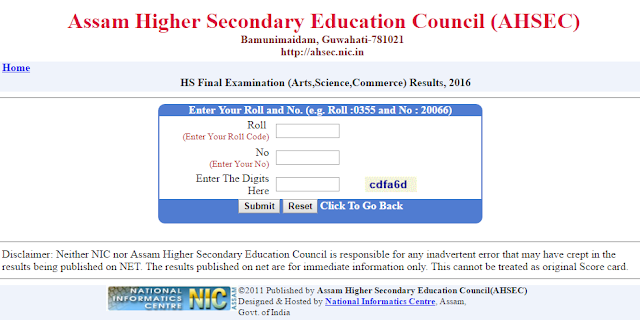 Assam Higher Secondary Result-2018/31 May