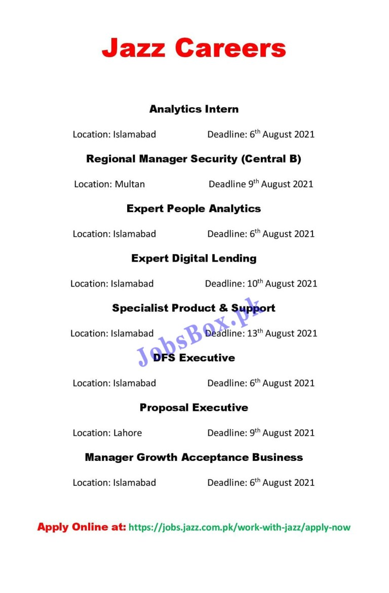 Jazz Jobs 2021 Latest Recruitment – Apply Online via jobs.jazz.com.pk
