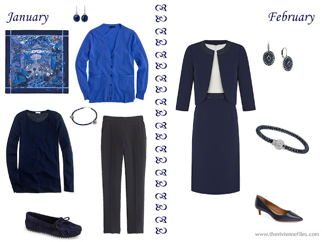 Build a Capsule Wardrobe by Starting with a Scarf: Hermes Jardins d'Hiver in Navy