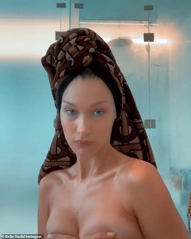 Bella Hadid shares topless bathroom video