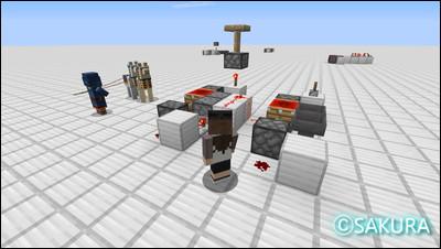 マインクラフトのレッドストーン回路 ラブドロッパーとラブドロッパーを組み合わせたクロック回路