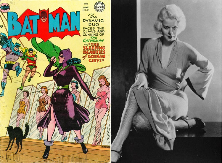 Side by side images showing: cover of Batman #84, Catwoman in a purple dress and green cape, in front of glass cabinets containing women in bathing suits, Batman and Robin swinging in from the left; next to Jean Harlow, seated in wraparound dress and stylish shoes