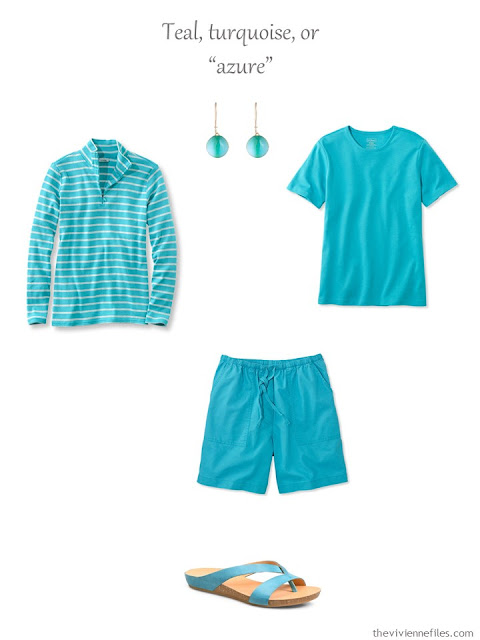 a French 5-Piece Wardrobe in turquoise, for warm weather