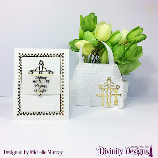 Divinity Designs Embossing Folder/Die Duo: Cross, Stamp Set: Miracle of Easter, Custom Dies: Lavish Layers Die, Timeless Tote