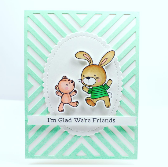 Snuggle Bunnies stamp set and Die-namics, Stitched Mini Scallop Oval STAX and Four Way Chevron Cover-Up Die-namics - Crafty_m0chi #mftstamps