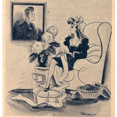 Cartoon of woman knitting from 1930s
