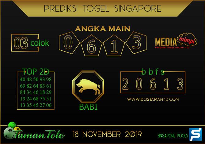 Prediksi Togel SINGAPORE TAMAN TOTO 18 NOVEMBER 2019