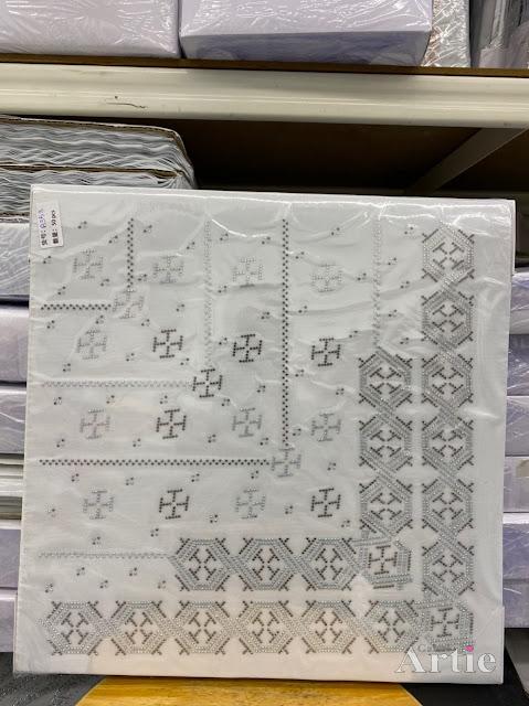 Hotfix stickers dmc rhinestone aplikasi tudung bawal fabrik pakaian bentuk abstrak hexagon silver hitam