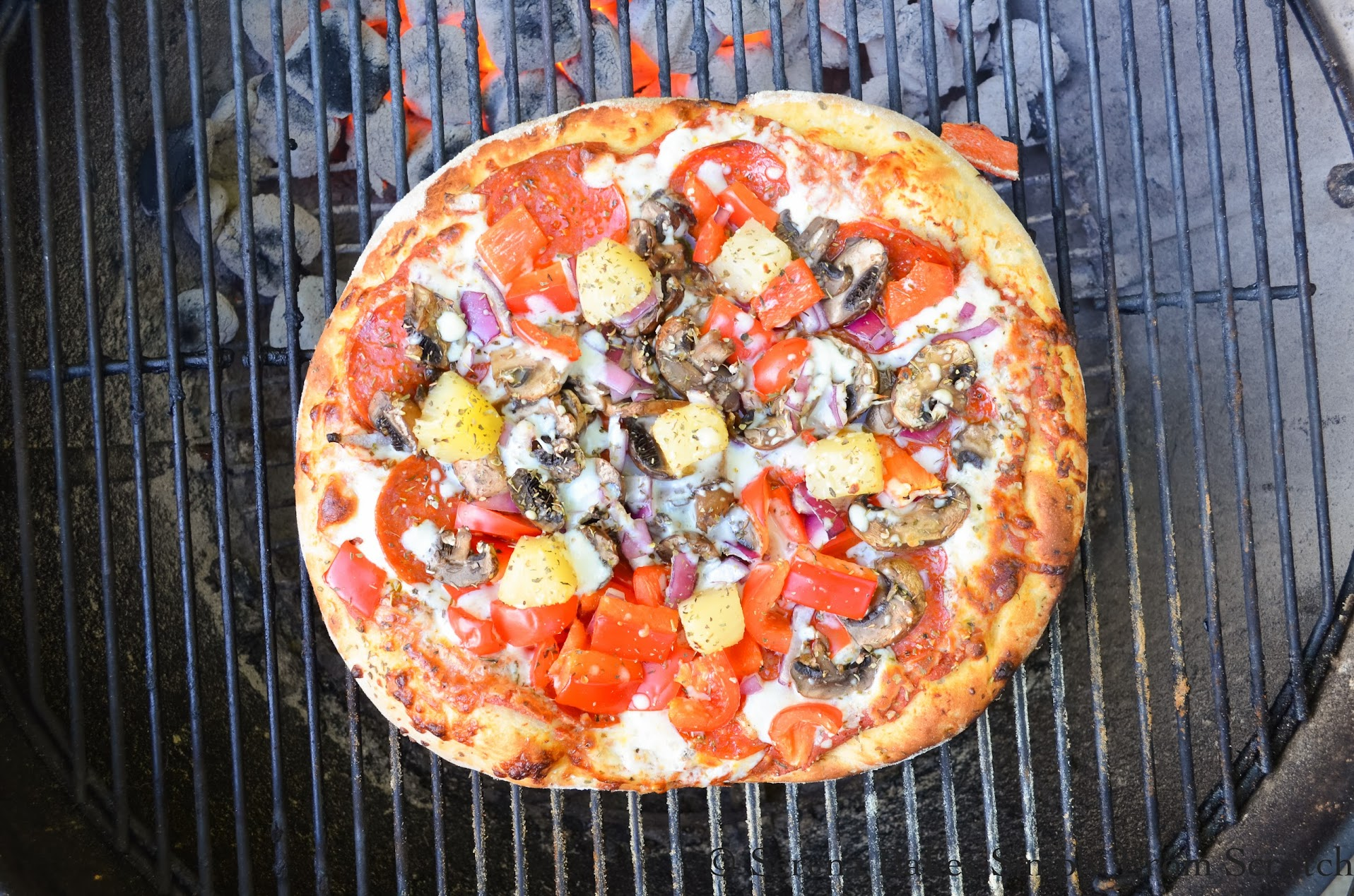 Charcoal Grilled Pizza is perfect dinner for a hot day.