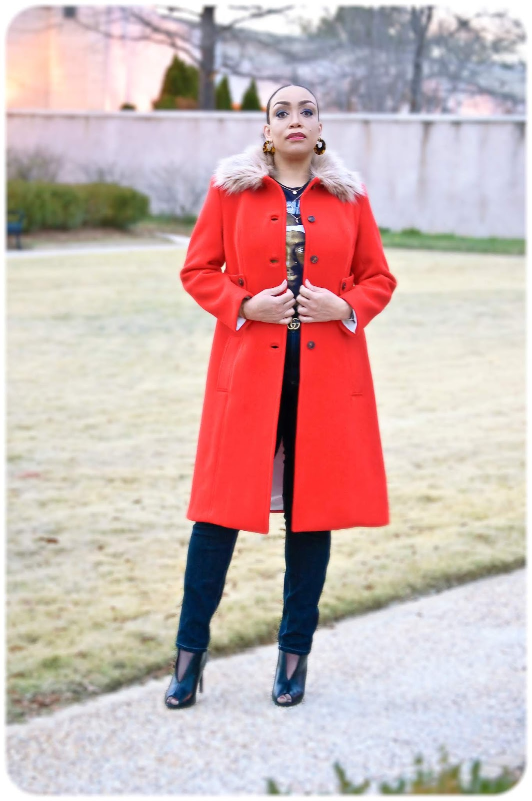 Simplicity 4403 - Fur-Trimmed Red Wool Coat - Erica Bunker DIY Style!
