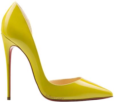 Yellow Christian Louboutin Iriza asymmetrical pumps #brilliantluxury