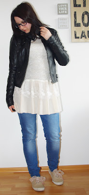 [Fashion] Romantic Crochet &  Lace Sweater Dress with Jeans and Leather Jacket