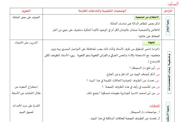 مذكرات السنة ثانية متوسط الجيل الثاني في اللغة العربية المقطع الأول الحياة العائلية