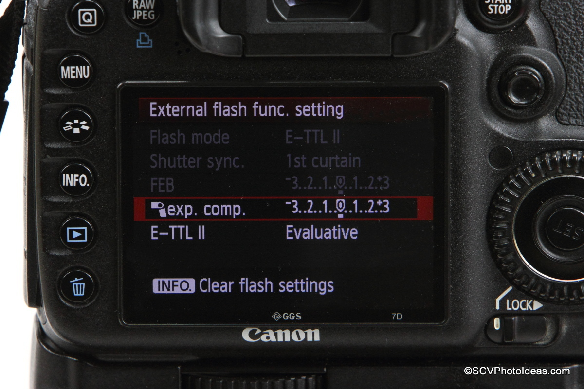Canon Speedlite 580EX on camera flash menu options