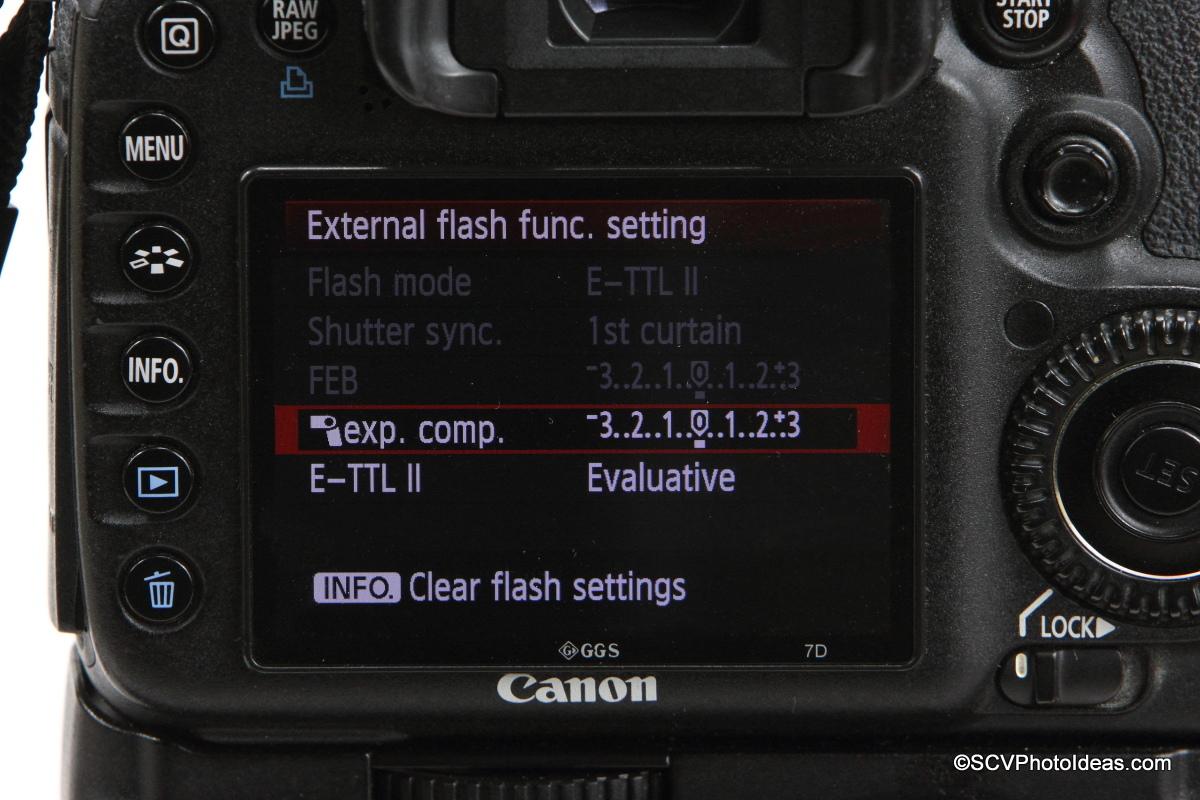 Canon Speedlite 580EX on camera flash menu options