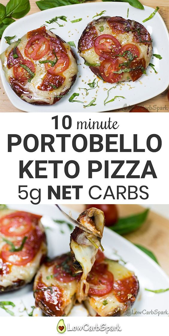 10-minute Portobello Keto Pizza – Low Carb Mushroom Crust