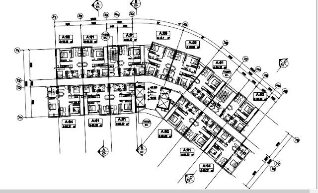 Sơ đồ mặt bằng tầng 3,5-18 tòa T1 B1.3 Thanh hà