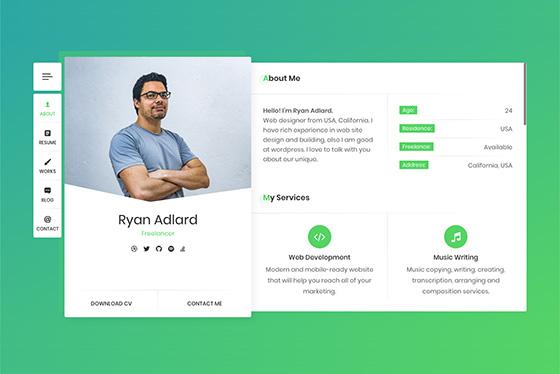 Resume CV & vCard - RyanCV WordPress Theme