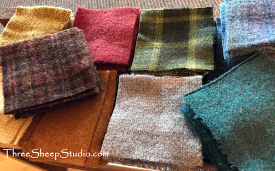 Charm Bundles of wool fabric at ThreeSheepStudio.com