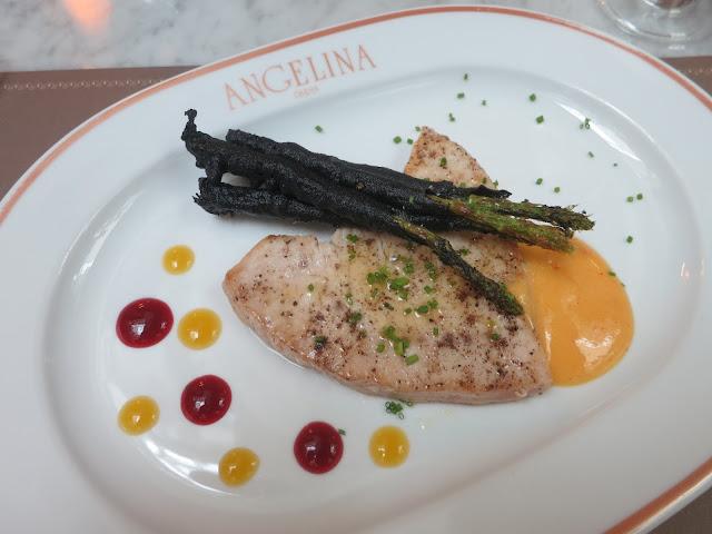 Sauteed swordfish with charcoal asparagus and spicy mango sabayon