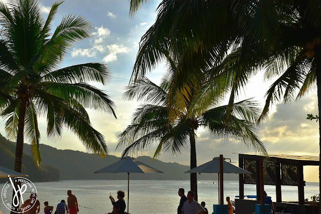 coconut trees, beach umbrellas, people at the beach