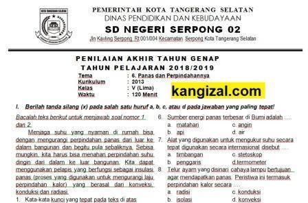 Soal UAS / PAT / UKK Kelas 5 Tema 6 Kurikulum 2013 Revisi 2019/2020 terbaru kang izal