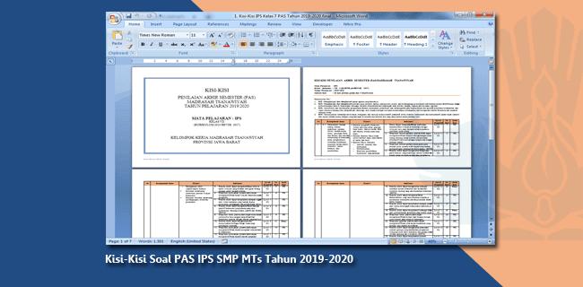 Kisi-Kisi Soal PAS IPS SMP MTs Tahun 2019-2020
