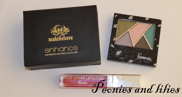 Make believe enhance sunbeam bronzer and brush, Famous high five eye shadow palette in Marbella nights, Famous spot light lipgloss in Feisty, Christmas giveaway, Giveaway, Party make up, Make believe, Famous cosmetics
