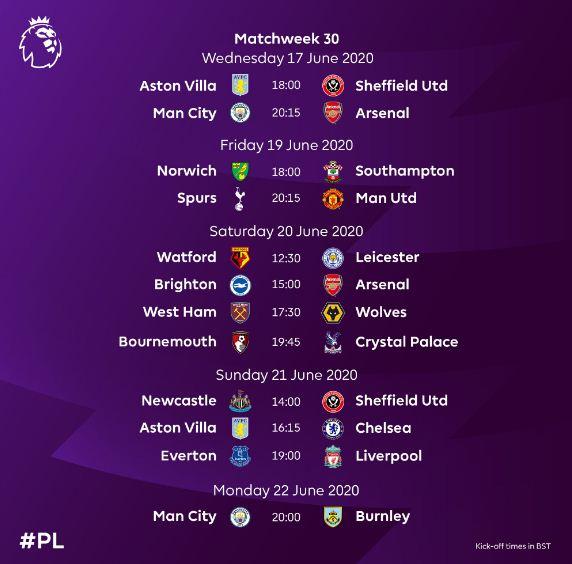Jadwal Liga Inggris Pekan 30