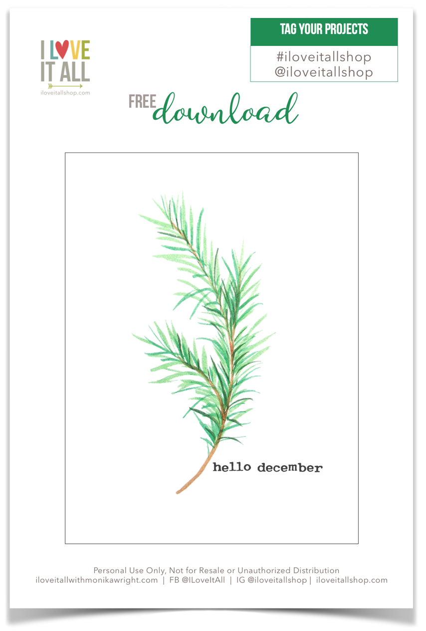 #Hello December #journal card #free #free download #memory keeping #memorykeeping #pocket pages