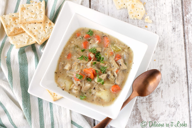Low-FODMAP Creamy Leftover Turkey & Potato Soup  /  Delicious as it Looks