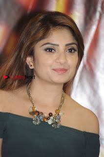 Kannada Actress Karunya Ram Stills in Strapless Green Short Dress at Eradu Kanasu Movie Press Meet  0001.jpg