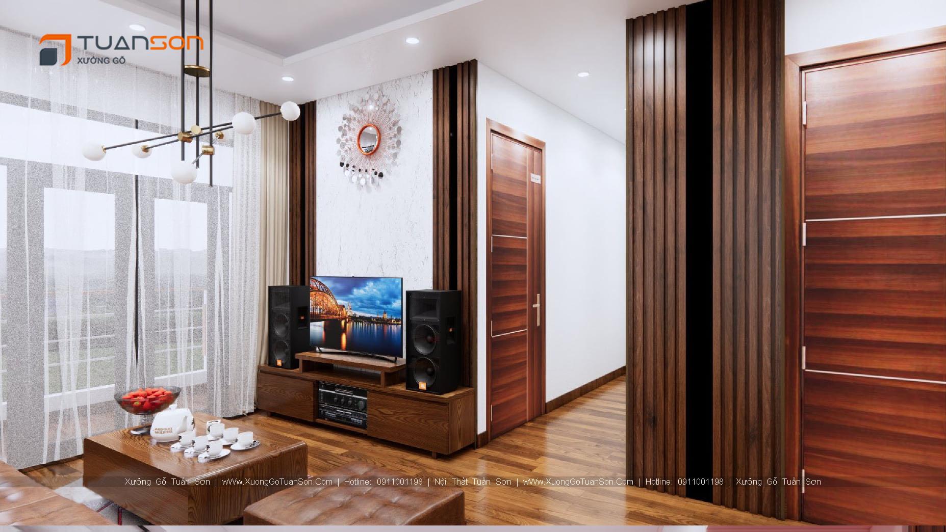 Thiết kế nội thất căn hộ số 1 (56.8m2) 2PN Phương Đông Green Park