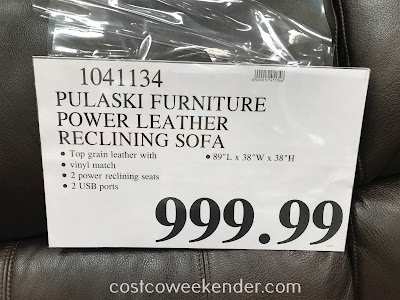 Deal for the Pulaski Furniture Leather Power Reclining Sofa at Costco
