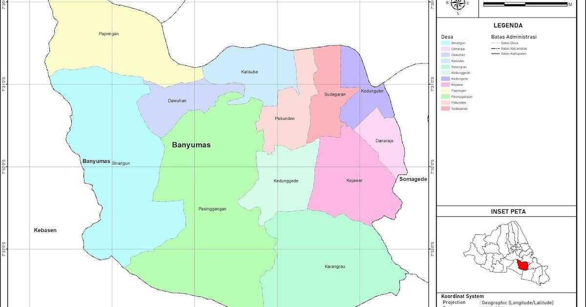 Peta Administrasi Kecamatan Banyumas, Kabupaten Banyumas ...