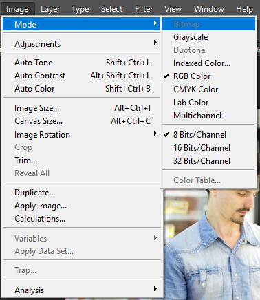 Menu Mode - menu con của Image trong Photoshop