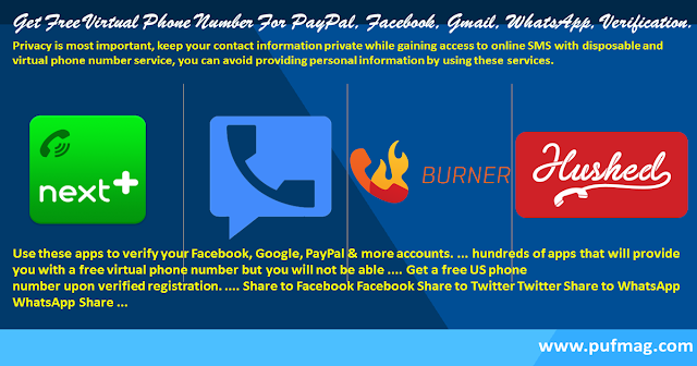 Get Free Virtual Phone Number For Paypal, Facebook, Gmail, Whatsapp, Verification.