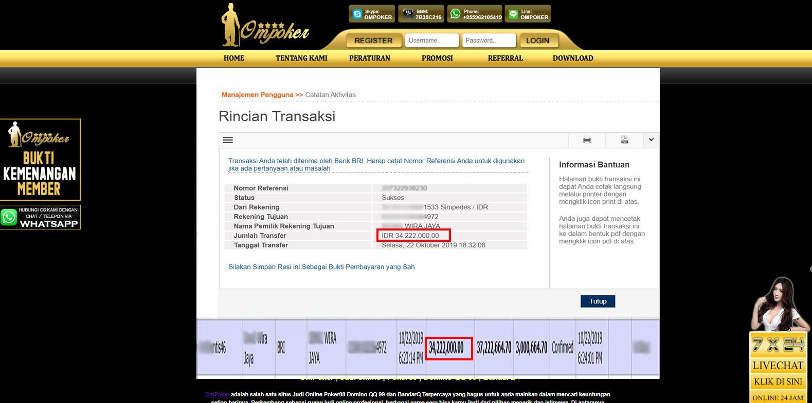Selamat Kepada Member Setia Ompoker WD Rp 34.222.000