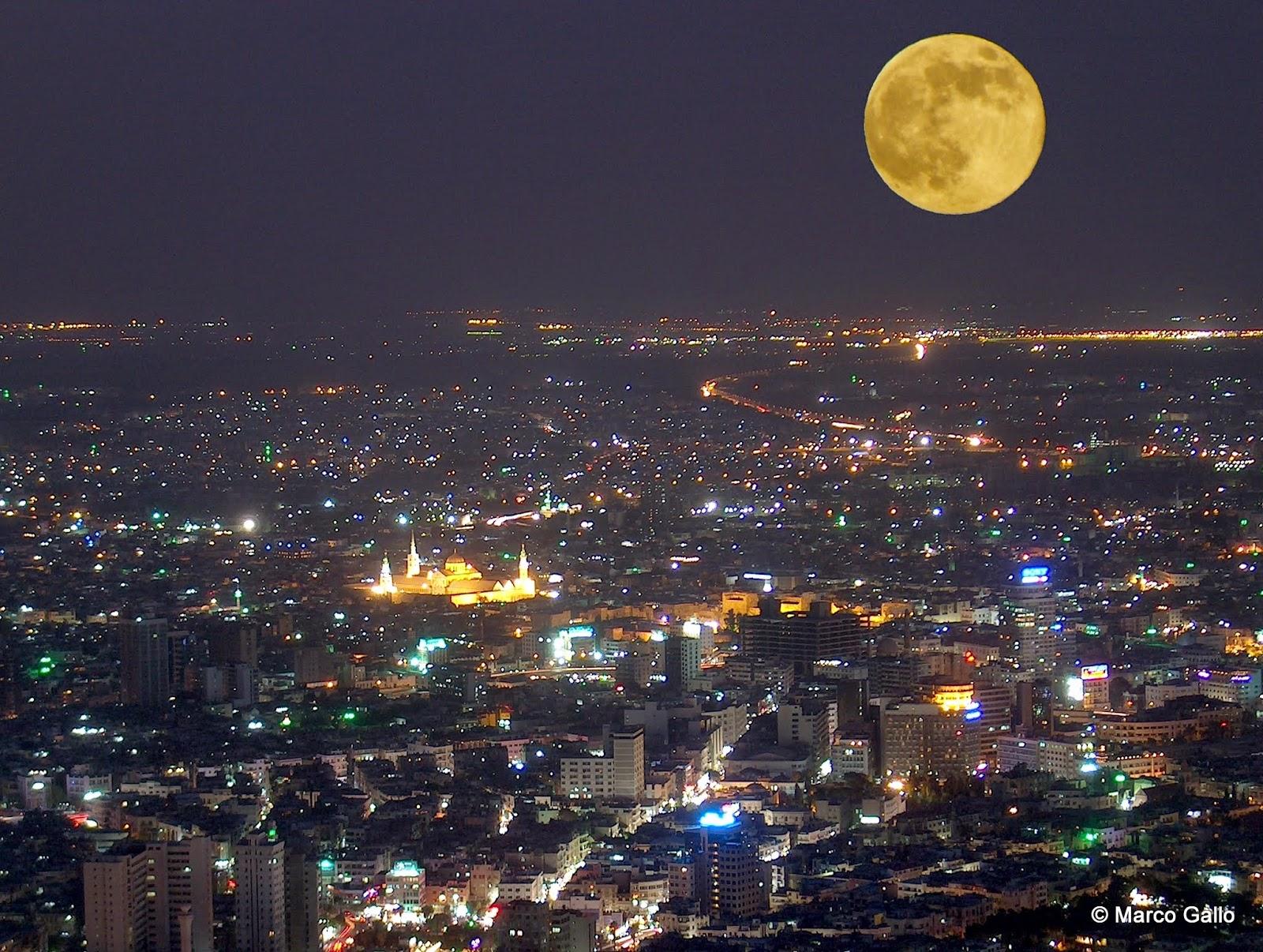 Damasco con la mezquita de los Omeyas desde el Monte Casium